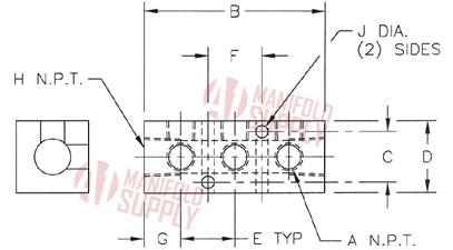 3 Port - 90° Aluminum Manifold by A1 Manifolds